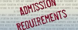 Admissions Requireemnts in red over background text