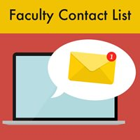 Faculty Contact List - Envelope coming out of a laptop