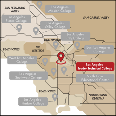 Map of Colleges in LACCD
