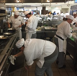 Students in professional kitchen